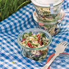 Spinach and Orzo Salad. I love taking this salad to a cookout or on a picnic since there's no mayo in it. I found the recipe in Sunset Magazine and knew I would love it!
