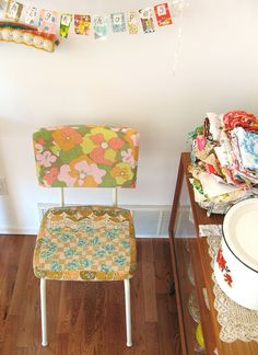 love the banner with fabric scraps and the Upcycled Chair. {Dottie Angel}