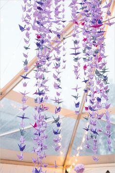 Pretty purple origami decor for your wedding alter