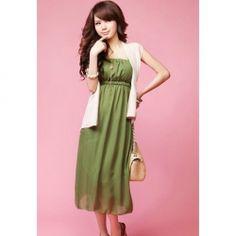 $9.85 Ladylike Elastic Waist Strapless Chiffon Dress For Women