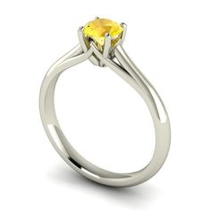 round citrin, brilliant cut, 9ct white, centr stone, solitair engag, cut round, engag ring, carri engag, engagement rings