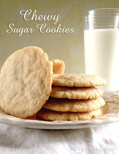 Chewy Sugar Cookies | Crispy on the outside but deliciously chewy in the middle, these Chewy Sugar Cookies are every cookie lover's dream.