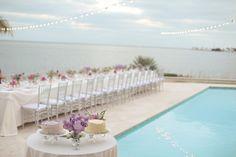 beach wedding reception by the pool