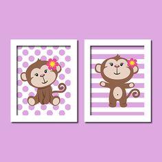 Cute Baby Girl Monkey Lavender Polka Dot by LovelyFaceDesigns, $23.00