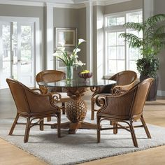 Sunset Reef Cane Dining Set : Sunset Reef Club Chairs from Hospitality Rattan : Ocean Reef Club Dining Set from Pelican Reef