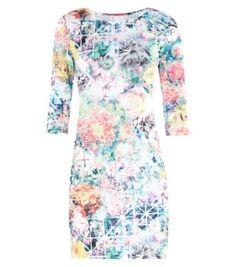 White Digital Floral Print 1/2 Sleeve Mini Bodycon Dress dress