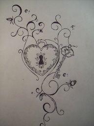 key tattoo, tattoo ideas, heart, ring tattoos, keys, rose tattoos, locks, couple tattoos, ink