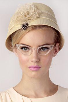 50s Cat eye clear glasses