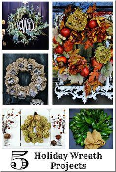 5 Holiday Wreath Projects #DIYWreaths, #DIYHolidayWreaths, #DIYFallWreaths