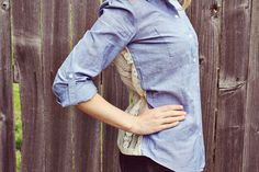 Simple DIY—trick out that tired denim shirt with lace.