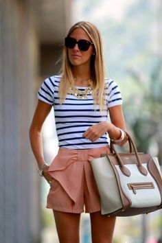 stripes and pink shorts with bow.