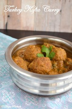 Turkey Kofta Curry- Delicious and easy make! Turkey meatballs in curry sauce. I baked my meatballs instead, while I made the sauce, then added them when cooked. I didn't have fenugreek, so I just did it without. I'll make that way later. I, also, added lite coconut milk instead of water to thicken it up