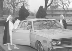These Sisters of Mercy are ready for a joyride in their new set of wheels. Taken in 1967, the building in the background is the #Mercy School of Nursing in Fort Scott, Kansas. #throwbackthursday #tbt