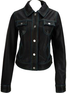 Womens leather jacket custom made style 1085NL front image