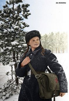 Russian girl nurse at the front WWII