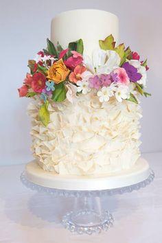 Flower garden wedding cake