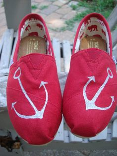 send me your shoesanchors hand drawn on TOMS by ArtfulSoles, $30.00