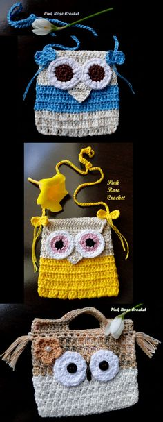 Rose - Pink Rose Crochet: Bolsinhas de Crochê Coruja, para Meninas!