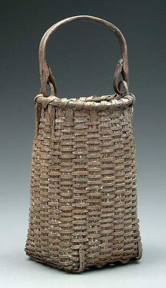 173: Oak split basket, bentwood handle