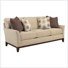 Broyhill Perspectives Three Seat Beige Sofa with Cognac Wood Finish - Let your living room reflect your unique style with the Perspectives Sofa. Clean lines with rounded curves and a wood base have contemporary flair.