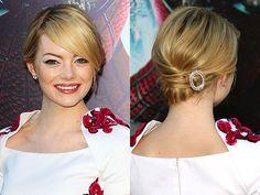 messi chignon, makeup, celebr hair, updos, emma stone updo, cartier brooch, hairstyl, stones, emma stone brooch hair