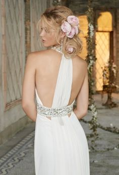 Chiffon Wedding Dress with Jeweled Collar from Camille La Vie and Group USA