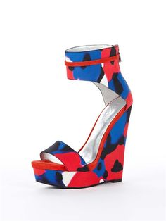 Love the wide ankle cuff and the bright, colorful print of the DKNY Corinne Wedge!