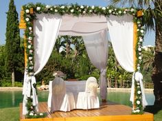 White green wedding ceremony Algarve Portugal by Algarve Wedding Planners