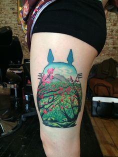 totoro tattoo, tattoo miyazaki, thighs, tattoos, art, victoria devotchka, ghibli, thigh piec, ink