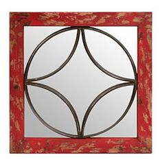 Red Geometric Mirrored Plaque | Kirklands