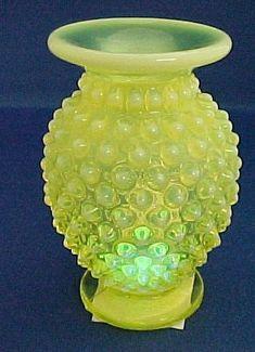 Vintage Fenton Hobnail Vaseline Glass