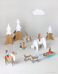 Peg dolls Winter Wonderland w/ cardboard toy templates / Mr Printables