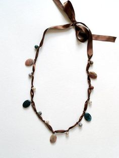 Bead and ribbon necklace DIY.