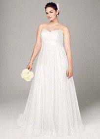 Polka Dot Tulle Empire Waist Soft Wedding Gown