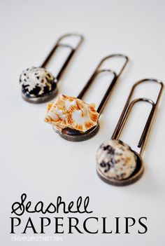 These seashell paperclips are such a simple way to turn a summer souvenir into a practical yet cute office supply.  They'd be great for nautical-themed parties or weddings, too.  Love it! summer souvenir, craft, office supplies, offic suppli