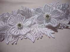 Lace #garter #Bridal  3D floral #lace Applique garter by GarterMart #weddings #brides