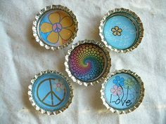 Flower Child  Hippie Bottle Cap Magnets by BuffaloCreekCrafts, $5.50
