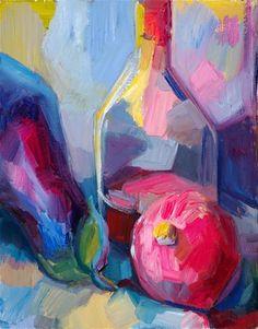 """Still life with aubergine, pomegranate and brandy"" - Original Fine Art for Sale - © Lena Levin"
