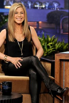 Jennifer Aniston Black Tank Black Leather Jeans Gold Jewelry