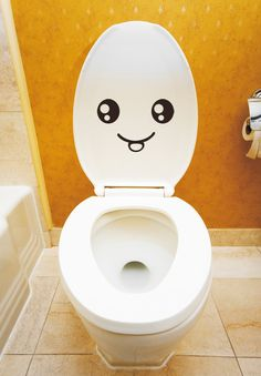 Smiley Face Toilet Decal Wall Mural Art Decor Funny Bathroom Sticker Gift $2.99