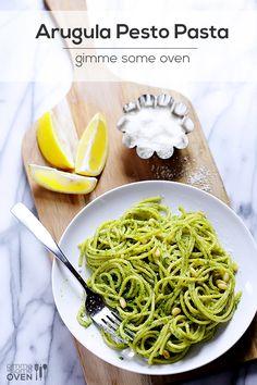 Arugula Pesto Pasta | gimmesomeoven.com