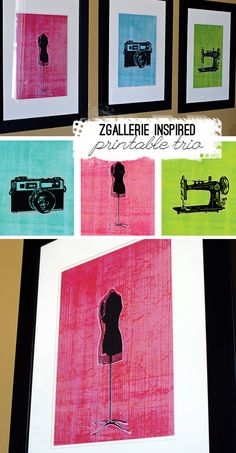 Z Gallerie inspired, fun, colorful trio of vintage sewing machine, camera and dress from as free printable from Printable Decor