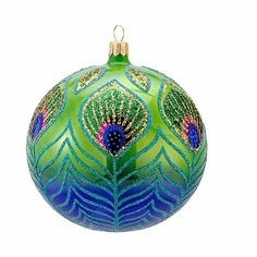 "Kurt Adler 4.5"" David Strand Glass Peacock Ball Ornament at HSN.com"