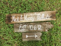 Wooden Wedding Signs Set of 3. $59.99, via Etsy.