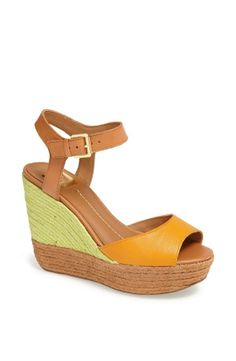 Peach and mint sandal wedges for summer!