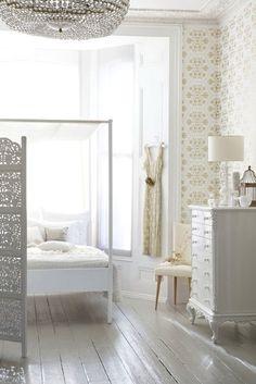 white floors & that wallpaper