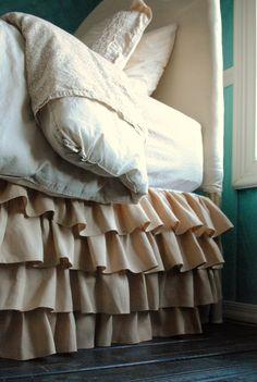 Ruffles Linen Bed Skirt for Queen or King