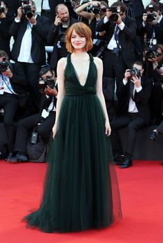 Emma Stone in a Valentino tulle gown from the Fall 14 Couture collection