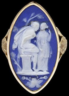 Ring - Gold With Wedgwood Jasper Cameo, England c. 1780️♕PM