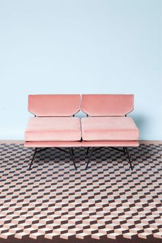 pink sofa. awesome floor.